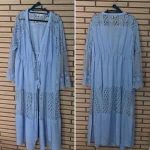 Blue Lace Kimono - Duster Coat - XL - Robe
